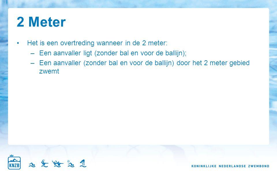 2 Meter Het is een overtreding wanneer in de 2 meter: –Een aanvaller ligt (zonder bal en voor de ballijn); –Een aanvaller (zonder bal en voor de ballijn) door het 2 meter gebied zwemt