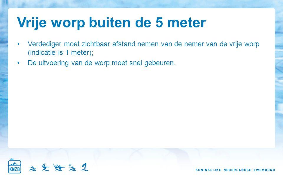 Vrije worp buiten de 5 meter Verdediger moet zichtbaar afstand nemen van de nemer van de vrije worp (indicatie is 1 meter); De uitvoering van de worp moet snel gebeuren.
