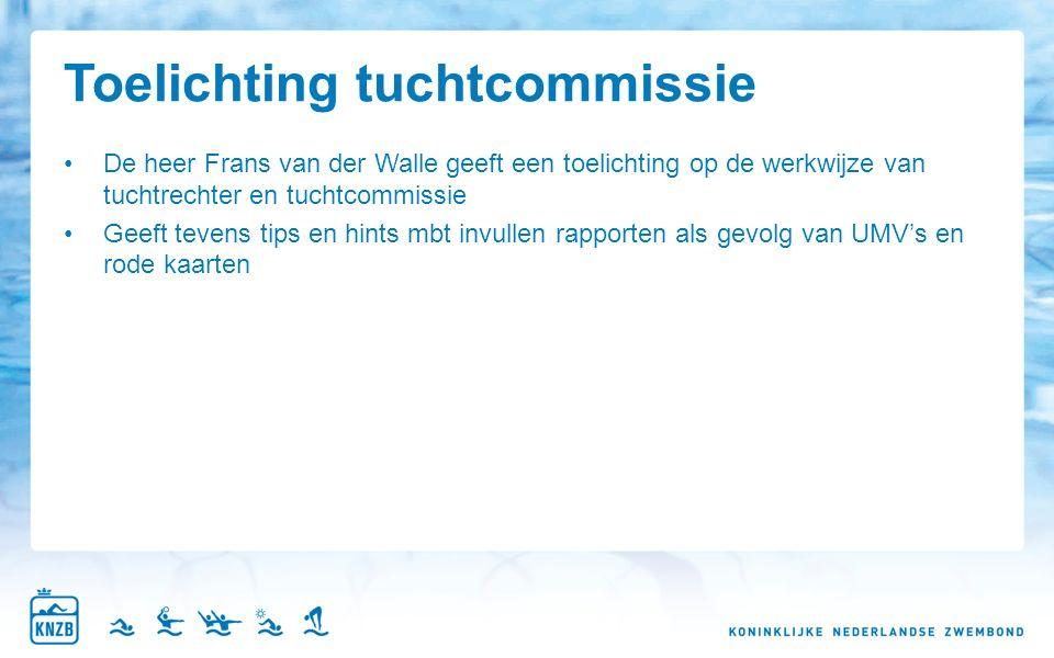 Toelichting tuchtcommissie De heer Frans van der Walle geeft een toelichting op de werkwijze van tuchtrechter en tuchtcommissie Geeft tevens tips en hints mbt invullen rapporten als gevolg van UMV's en rode kaarten
