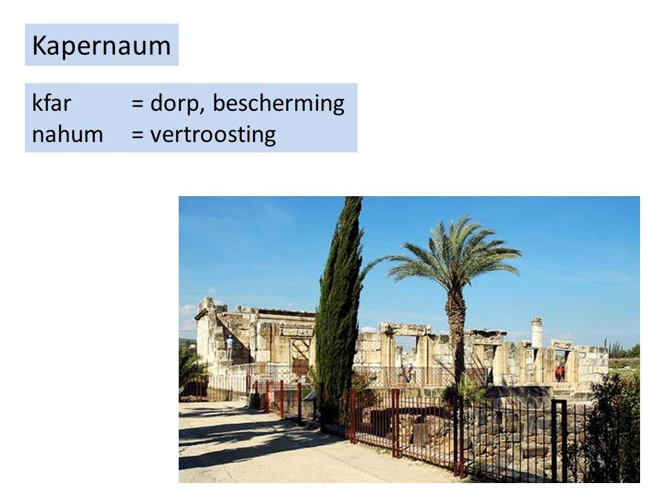 Kapernaum kfar = dorp, bescherming nahum = vertroosting