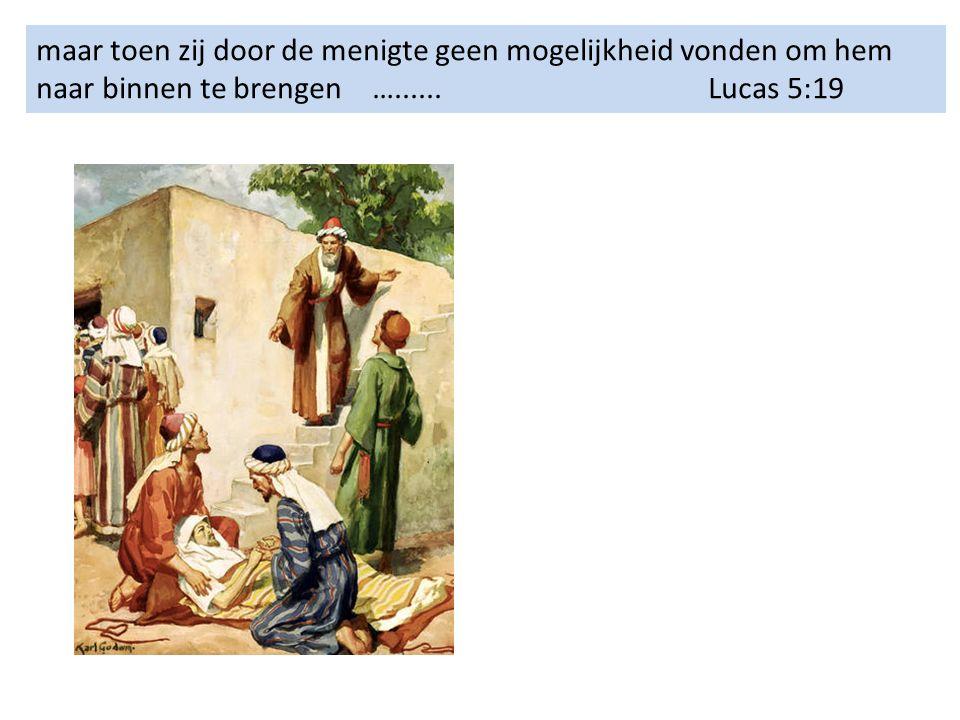 maar toen zij door de menigte geen mogelijkheid vonden om hem naar binnen te brengen…......