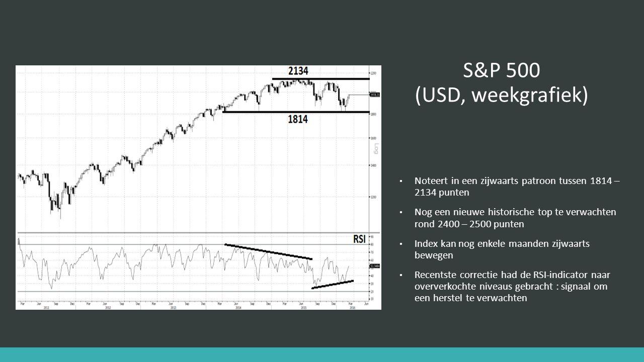 S&P 500 (USD, weekgrafiek) Noteert in een zijwaarts patroon tussen 1814 – 2134 punten Nog een nieuwe historische top te verwachten rond 2400 – 2500 punten Index kan nog enkele maanden zijwaarts bewegen Recentste correctie had de RSI-indicator naar oververkochte niveaus gebracht : signaal om een herstel te verwachten