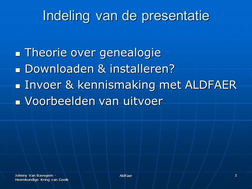 Johnny Van Bavegem - Heemkundige Kring van Gooik Aldfaer 13 Waarom Aldfaer.