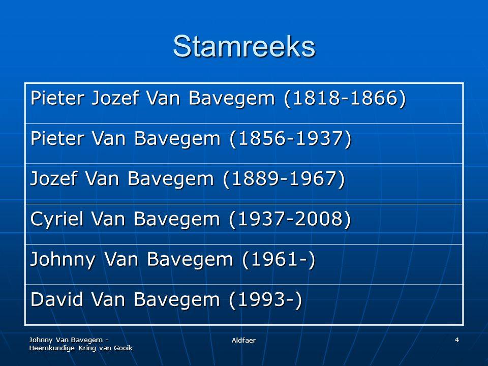 Johnny Van Bavegem - Heemkundige Kring van Gooik Aldfaer 4 Stamreeks Pieter Jozef Van Bavegem (1818-1866) Pieter Van Bavegem (1856-1937) Jozef Van Bavegem (1889-1967) Cyriel Van Bavegem (1937-2008) Johnny Van Bavegem (1961-) David Van Bavegem (1993-)
