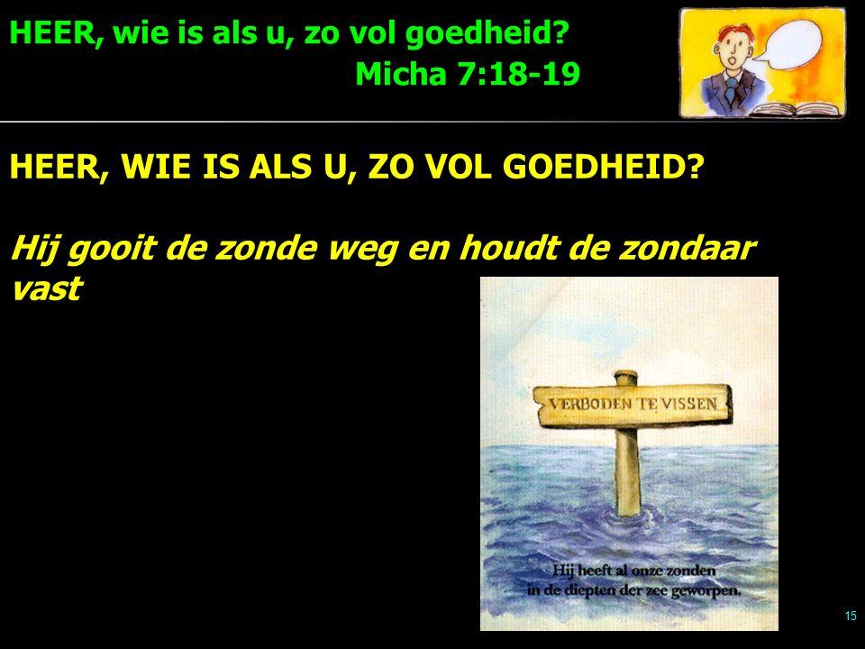 HEER, wie is als u, zo vol goedheid. Micha 7:18-19 15 HEER, WIE IS ALS U, ZO VOL GOEDHEID.