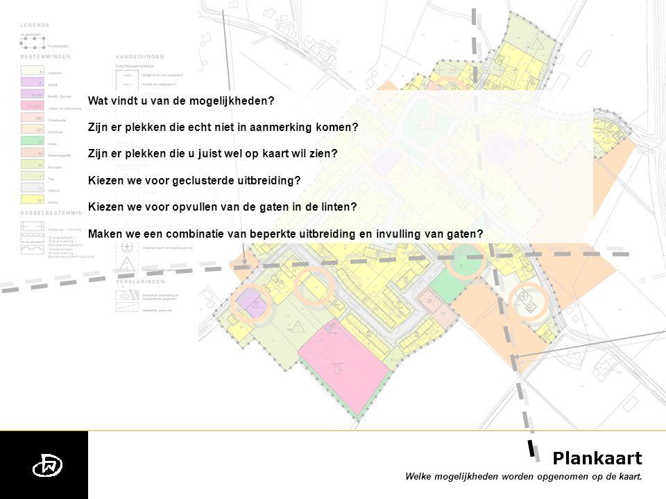 Plankaart Welke mogelijkheden worden opgenomen op de kaart.