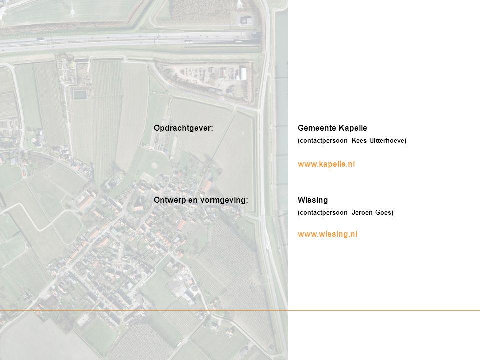 Opdrachtgever:Gemeente Kapelle (contactpersoon Kees Uitterhoeve) www.kapelle.nl Ontwerp en vormgeving:Wissing (contactpersoon Jeroen Goes) www.wissing.nl
