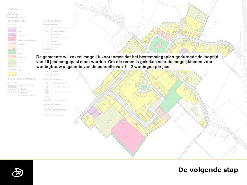 De volgende stap De gemeente wil zoveel mogelijk voorkomen dat het bestemmingsplan gedurende de looptijd van 10 jaar aangepast moet worden.