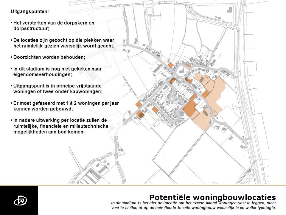Potentiële woningbouwlocaties In dit stadium is het niet de intentie om het exacte aantal woningen vast te leggen, maar vast te stellen of op de betreffende locatie woningbouw wenselijk is en welke typologie.