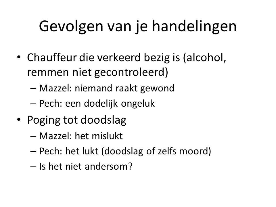 Gevolgen van je handelingen Chauffeur die verkeerd bezig is (alcohol, remmen niet gecontroleerd) – Mazzel: niemand raakt gewond – Pech: een dodelijk o