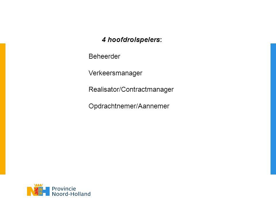 4 hoofdrolspelers: Beheerder Verkeersmanager Realisator/Contractmanager Opdrachtnemer/Aannemer