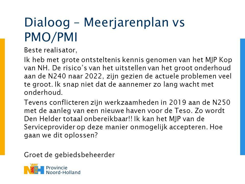 Dialoog – Meerjarenplan vs PMO/PMI Beste realisator, Ik heb met grote ontsteltenis kennis genomen van het MJP Kop van NH.
