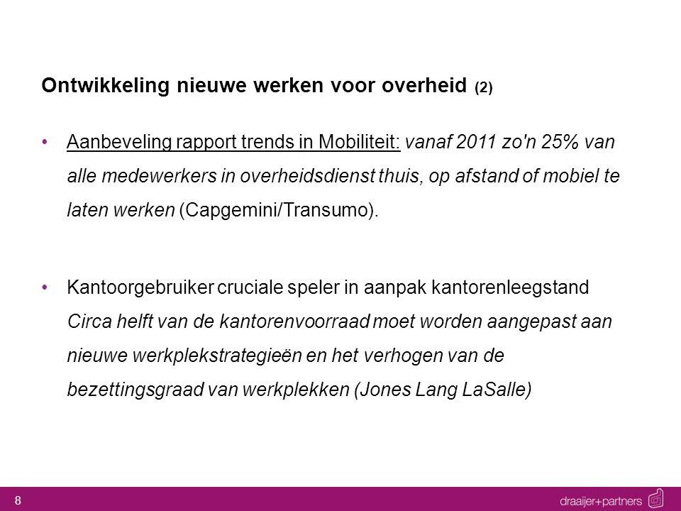 8 Ontwikkeling nieuwe werken voor overheid (2) Aanbeveling rapport trends in Mobiliteit: vanaf 2011 zo'n 25% van alle medewerkers in overheidsdienst t