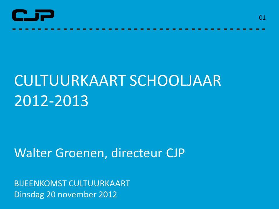 CULTUURKAART SCHOOLJAAR 2012-2013 Walter Groenen, directeur CJP BIJEENKOMST CULTUURKAART Dinsdag 20 november 2012 0101