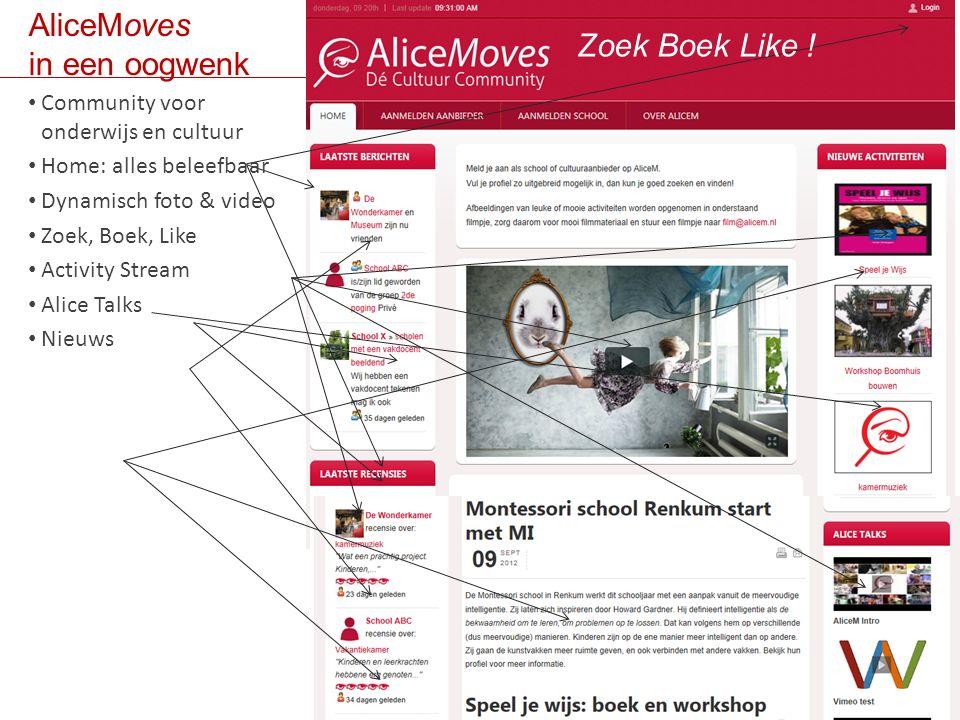 AliceMoves in een oogwenk Community voor b bonderwijs en cultuur Alle beleving op home Dynamisch foto & video Zoek, Boek, Like (inlog) Activity stream Alice Talks Nieuws Zoek Boek Like .
