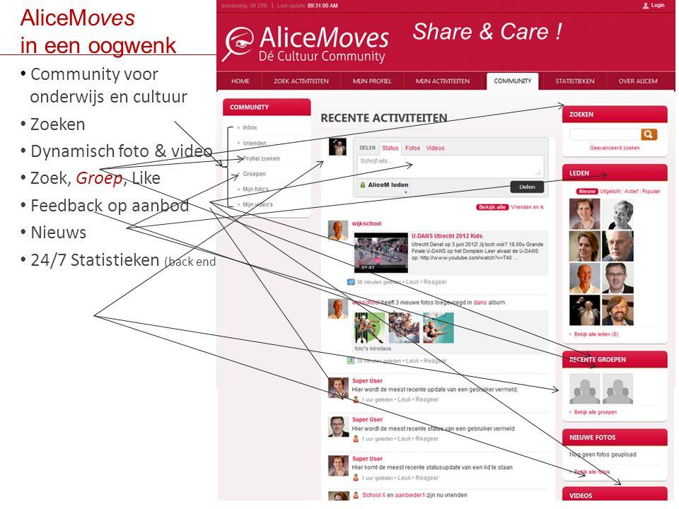 AliceMoves in een oogwenk Community voor bonderwijs en cultuur Zoeken Dynamisch foto & video Zoek, Groep, Like Feedback op aanbod Nieuws 24/7 Statistieken (back end) Share & Care !