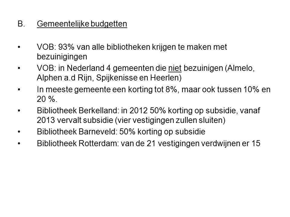 B.Gemeentelijke budgetten VOB: 93% van alle bibliotheken krijgen te maken met bezuinigingen VOB: in Nederland 4 gemeenten die niet bezuinigen (Almelo, Alphen a.d Rijn, Spijkenisse en Heerlen) In meeste gemeente een korting tot 8%, maar ook tussen 10% en 20 %.