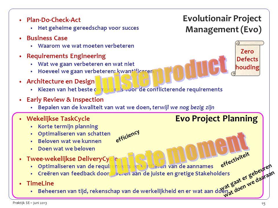 15 Praktijk SE – juni 2013 Evo Project Planning Evolutionair Project Management (Evo) Plan-Do-Check-Act Het geheime gereedschap voor succes Business Case Waarom we wat moeten verbeteren Requirements Engineering Wat we gaan verbeteren en wat niet Hoeveel we gaan verbeteren: kwantificeren Architecture en Design Kiezen van het beste compromis voor de conflicterende requirements Early Review & Inspection Bepalen van de kwaliteit van wat we doen, terwijl we nog bezig zijn Wekelijkse TaskCycle Korte termijn planning Optimaliseren van schatten Beloven wat we kunnen Doen wat we beloven Twee-wekelijkse DeliveryCycle Optimaliseren van de requirements en verifiëren van de aannames Creëren van feedback door leveren aan de juiste en gretige Stakeholders TimeLine Beheersen van tijd, rekenschap van de werkelijkheid en er wat aan doen Zero Defects houding efficiency effectiviteit wat gaat er gebeuren wat doen we daaraan