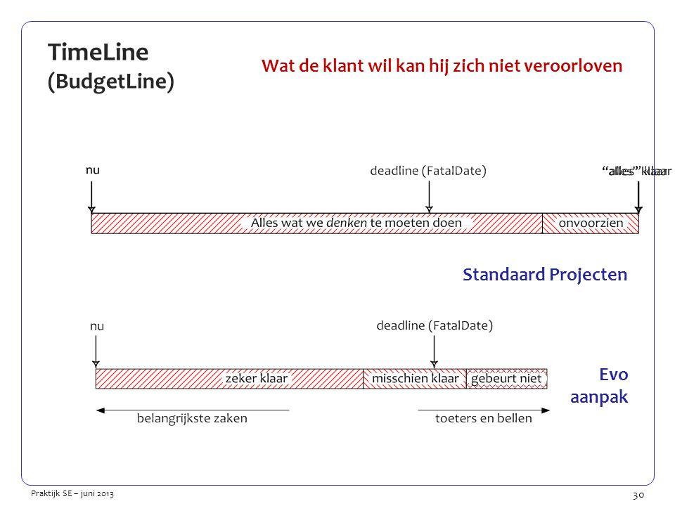 30 Praktijk SE – juni 2013 TimeLine (BudgetLine) Wat de klant wil kan hij zich niet veroorloven Standaard Projecten Evo aanpak