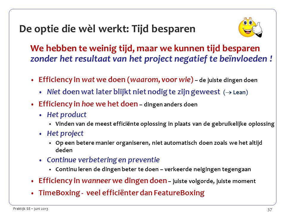 37 Praktijk SE – juni 2013 De optie die wèl werkt: Tijd besparen We hebben te weinig tijd, maar we kunnen tijd besparen zonder het resultaat van het project negatief te beïnvloeden .