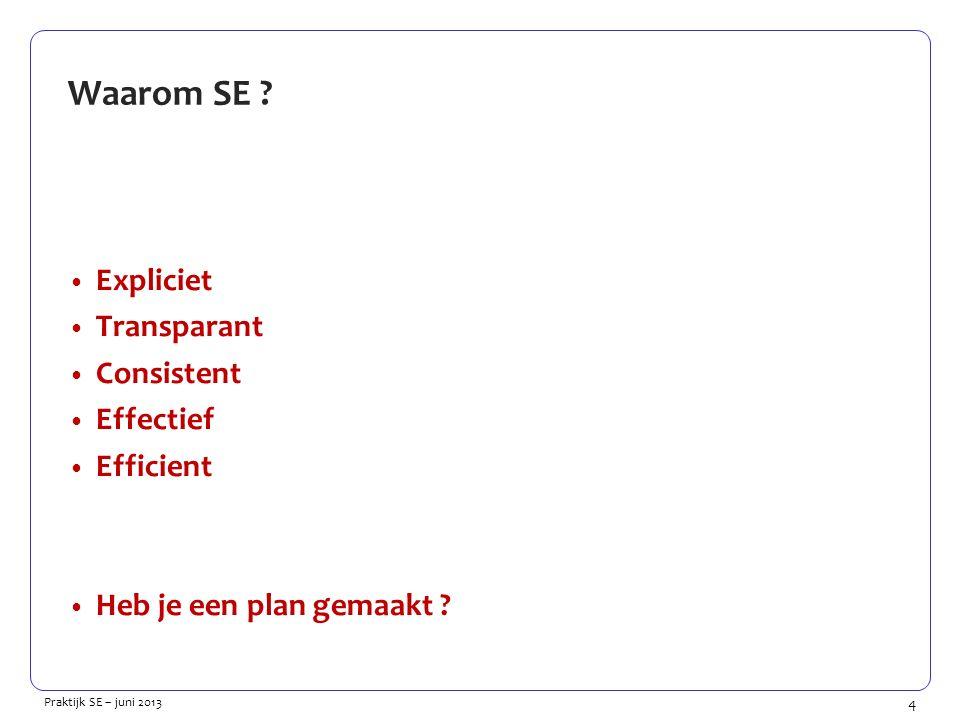 4 Praktijk SE – juni 2013 Waarom SE ? Expliciet Transparant Consistent Effectief Efficient Heb je een plan gemaakt ?