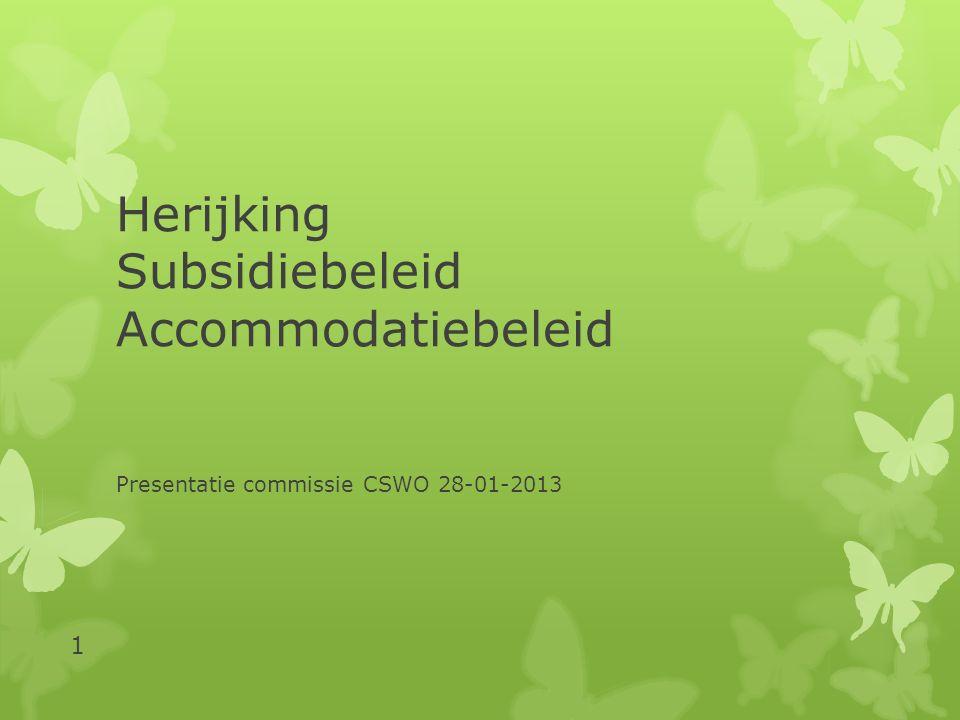 Herijking Subsidiebeleid Accommodatiebeleid Presentatie commissie CSWO 28-01-2013 1