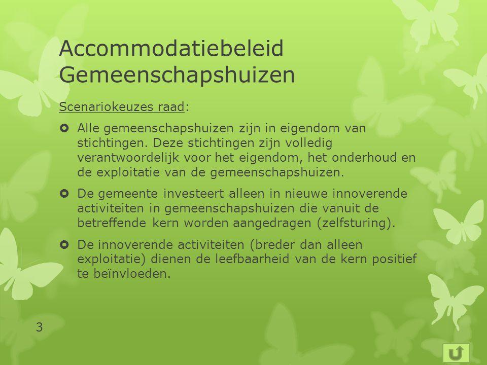 Accommodatiebeleid Gemeenschapshuizen Scenariokeuzes raad:  Alle gemeenschapshuizen zijn in eigendom van stichtingen.