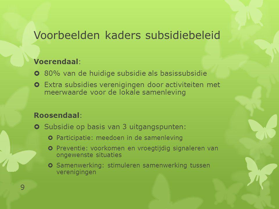 Voorbeelden kaders subsidiebeleid  Alles gelijkmatig procentueel terug binnen de financiële kaders;  Jeugd subsidiëren, volwassenen niet  Verenigingen subsidiëren die voldoen aan sociaal-culturele en maatschappelijke criteria (bijv.