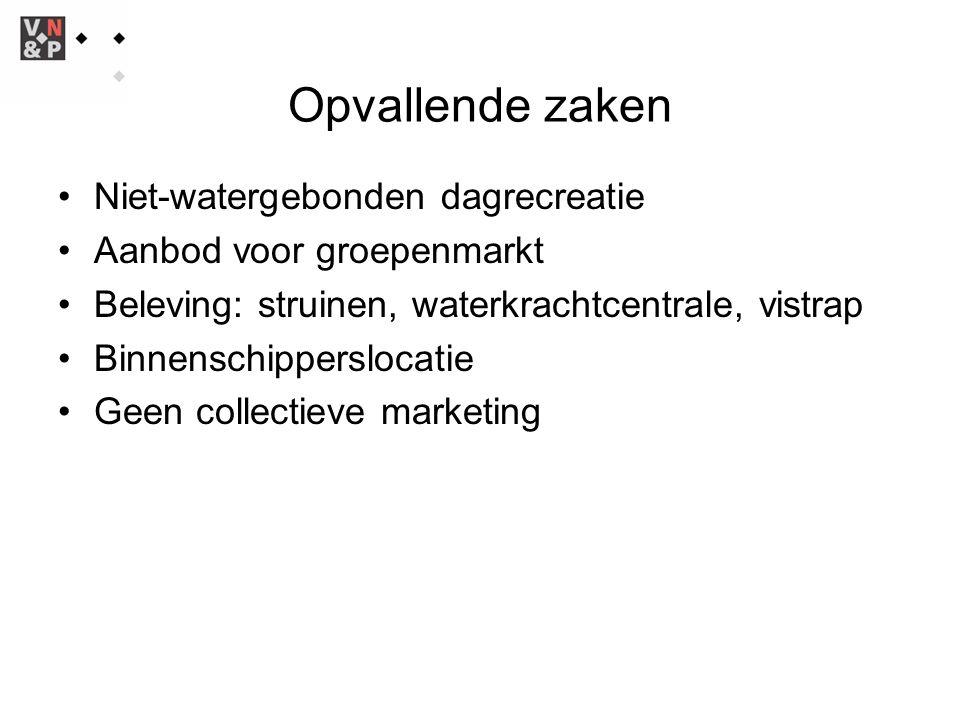 Opvallende zaken Niet-watergebonden dagrecreatie Aanbod voor groepenmarkt Beleving: struinen, waterkrachtcentrale, vistrap Binnenschipperslocatie Geen collectieve marketing