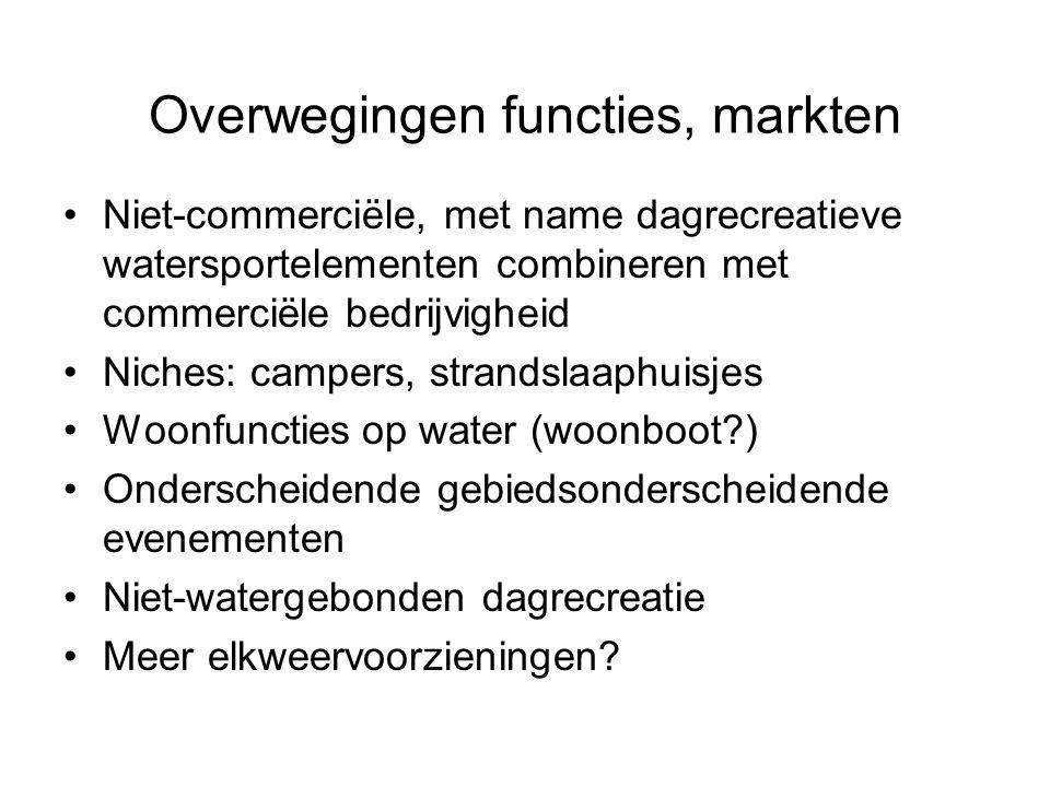 Overwegingen functies, markten Niet-commerciële, met name dagrecreatieve watersportelementen combineren met commerciële bedrijvigheid Niches: campers,