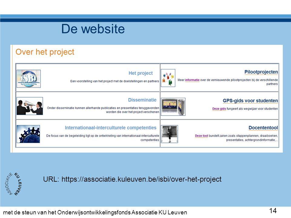 met de steun van het Onderwijsontwikkelingsfonds Associatie KU Leuven De website 14 URL: https://associatie.kuleuven.be/isbi/over-het-project