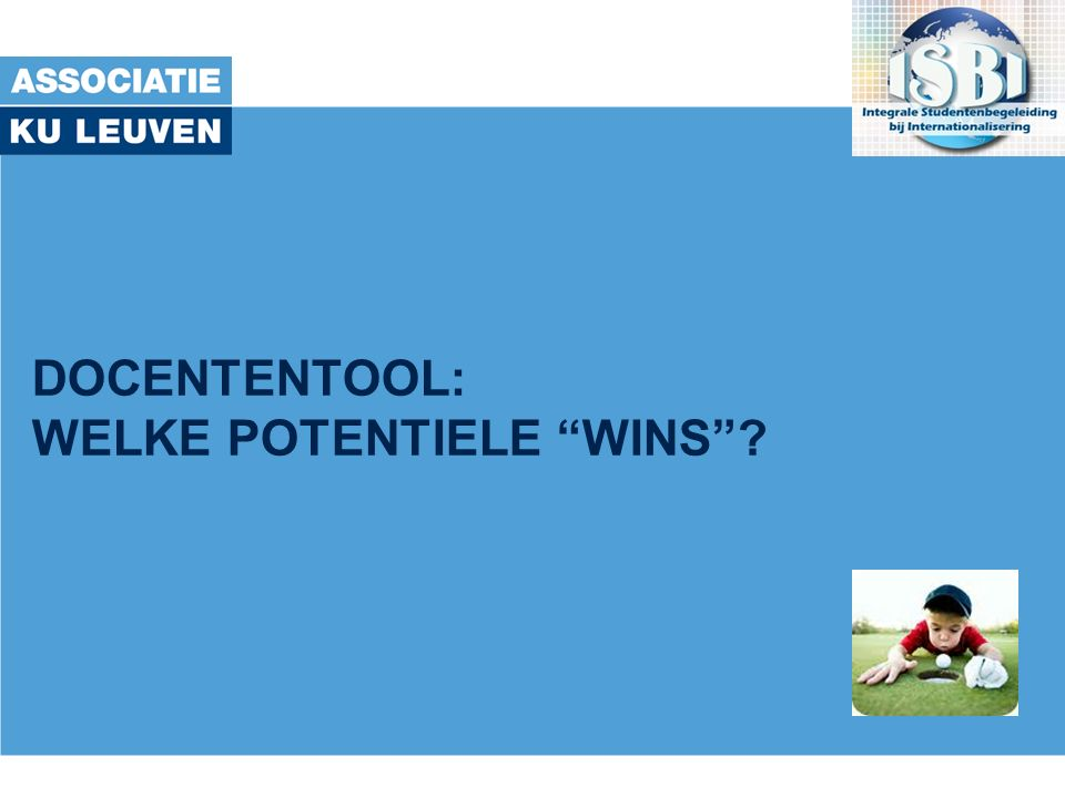 DOCENTENTOOL: WELKE POTENTIELE WINS