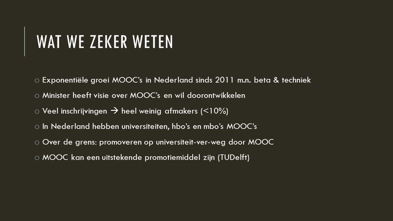WAT WE ZEKER WETEN o Exponentiële groei MOOC's in Nederland sinds 2011 m.n.