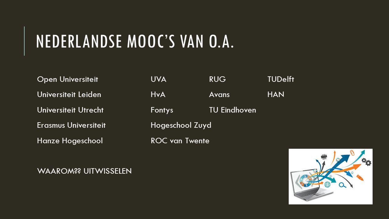 NEDERLANDSE MOOC'S VAN O.A.