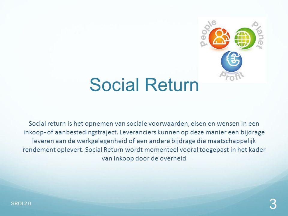 Social return is het opnemen van sociale voorwaarden, eisen en wensen in een inkoop- of aanbestedingstraject. Leveranciers kunnen op deze manier een b