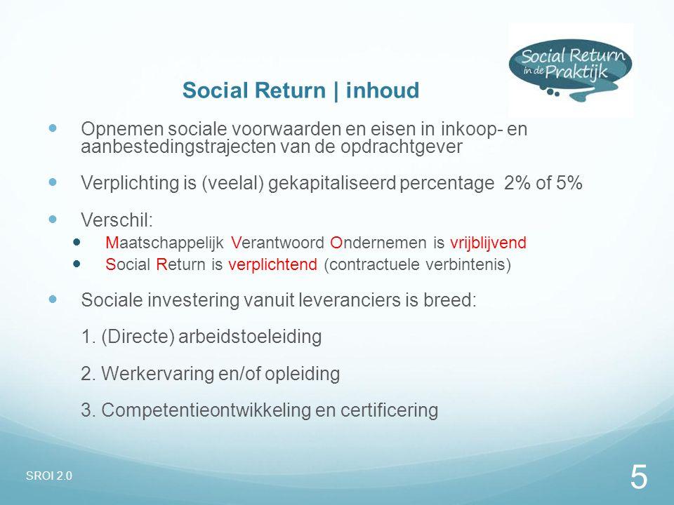 Social Return | inhoud Opnemen sociale voorwaarden en eisen in inkoop- en aanbestedingstrajecten van de opdrachtgever Verplichting is (veelal) gekapit