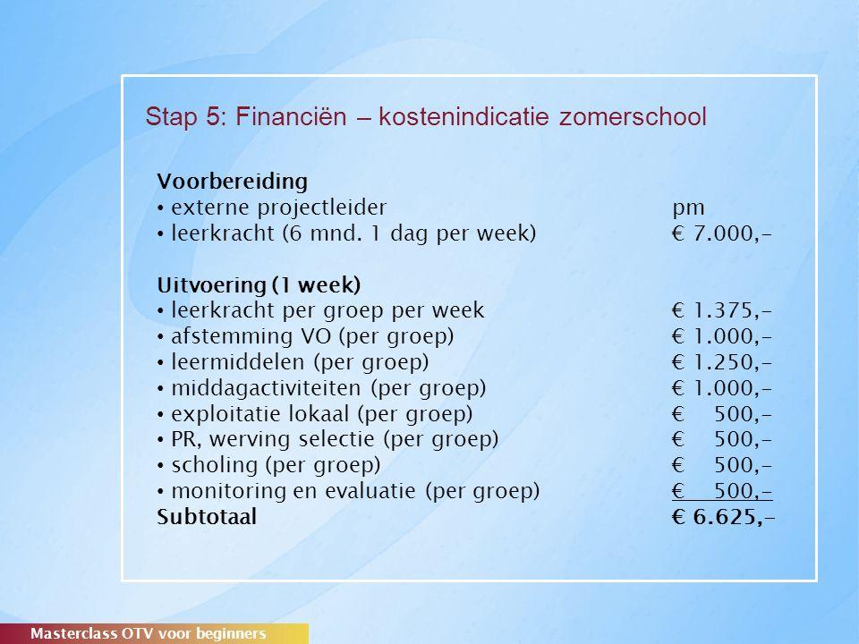 Stap 5: Financiën – kostenindicatie zomerschool Masterclass OTV voor beginners Voorbereiding externe projectleider pm leerkracht (6 mnd.