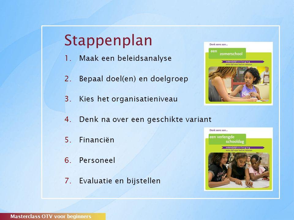 Stappenplan 1.Maak een beleidsanalyse 2.Bepaal doel(en) en doelgroep 3.Kies het organisatieniveau 4.Denk na over een geschikte variant 5.Financiën 6.Personeel 7.Evaluatie en bijstellen