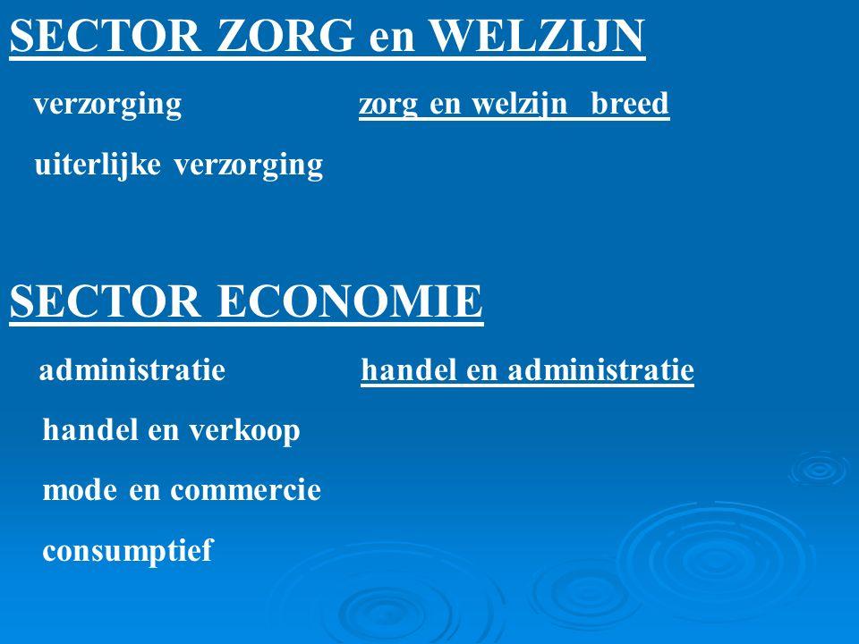 SECTOR ZORG en WELZIJN verzorging zorg en welzijn breed uiterlijke verzorging SECTOR ECONOMIE administratie handel en administratie handel en verkoop mode en commercie consumptief