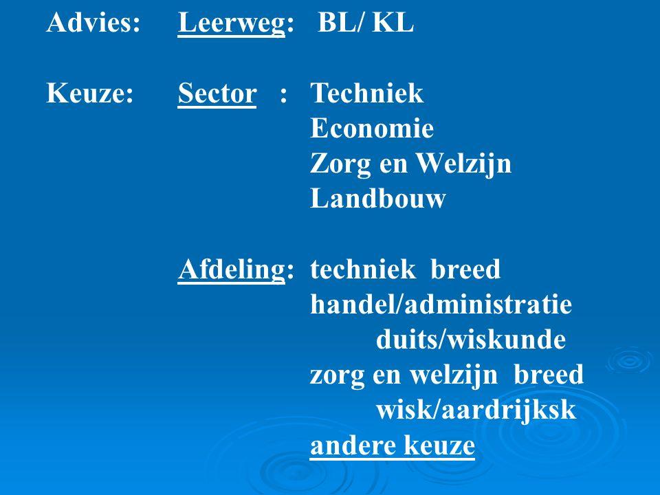 Advies: Leerweg: BL/ KL Keuze:Sector : Techniek Economie Zorg en Welzijn Landbouw Afdeling: techniek breed handel/administratie duits/wiskunde zorg en welzijn breed wisk/aardrijksk andere keuze