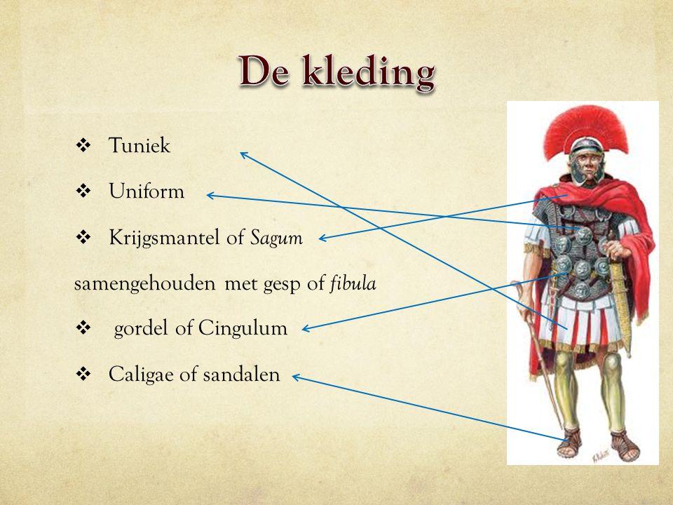  Tuniek  Uniform  Krijgsmantel of Sagum samengehouden met gesp of fibula  gordel of Cingulum  Caligae of sandalen