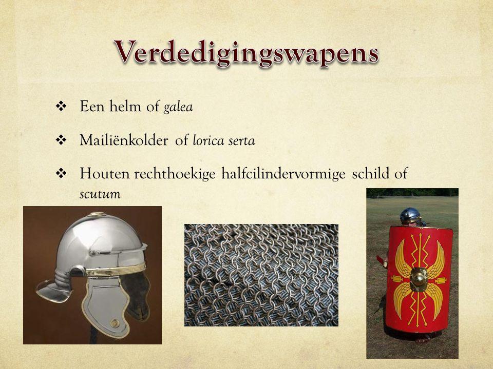  Een helm of galea  Mailiënkolder of lorica serta  Houten rechthoekige halfcilindervormige schild of scutum