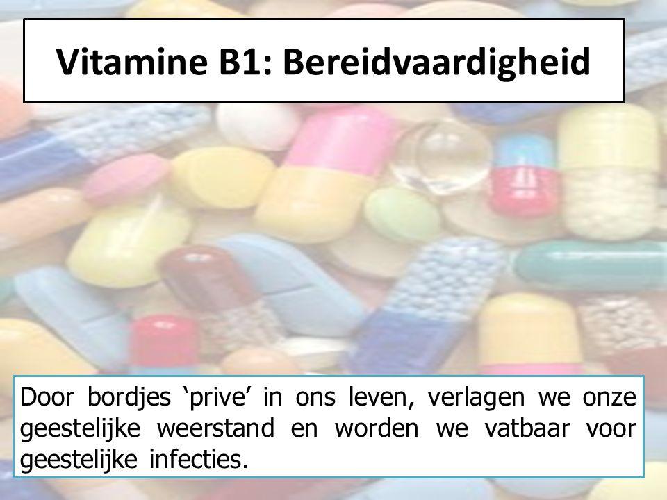 Vitamine B1: Bereidvaardigheid Door bordjes 'prive' in ons leven, verlagen we onze geestelijke weerstand en worden we vatbaar voor geestelijke infecties.