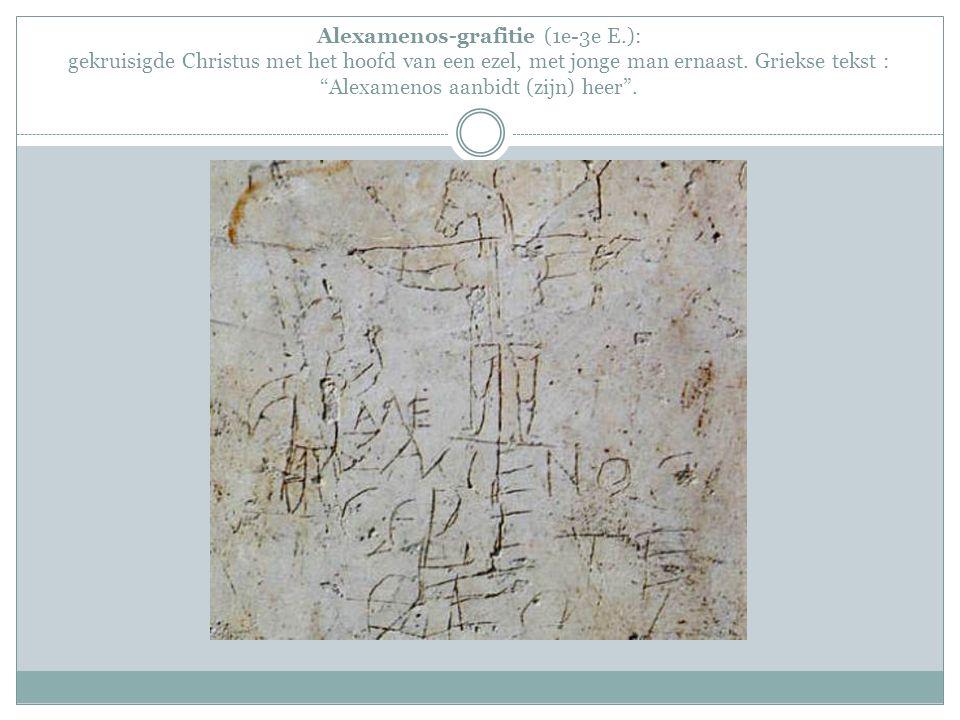 Alexamenos-grafitie (1e-3e E.): gekruisigde Christus met het hoofd van een ezel, met jonge man ernaast.