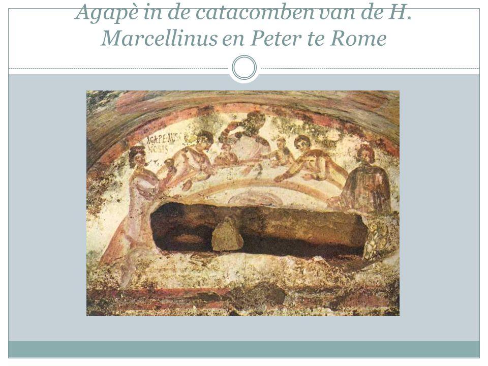 Agapè in de catacomben van de H. Marcellinus en Peter te Rome