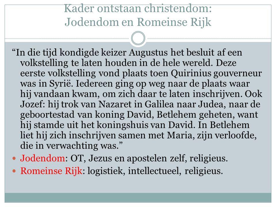 Kader ontstaan christendom: Romeinse Rijk 1.Logistiek Uitgestrekt en goed georganiseerd.