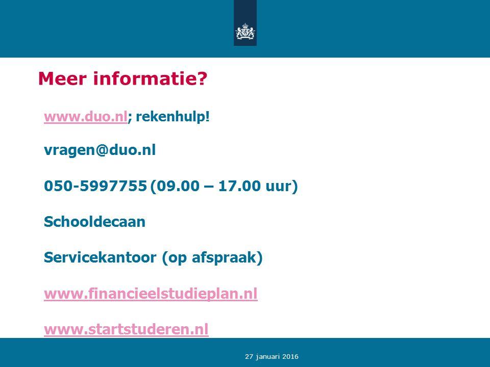 27 januari 2016 Meer informatie.www.duo.nlwww.duo.nl; rekenhulp.