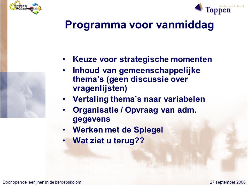 27 september 2006Doorlopende leerlijnen in de beroepskolom Programma voor vanmiddag Keuze voor strategische momenten Inhoud van gemeenschappelijke thema's (geen discussie over vragenlijsten) Vertaling thema's naar variabelen Organisatie / Opvraag van adm.