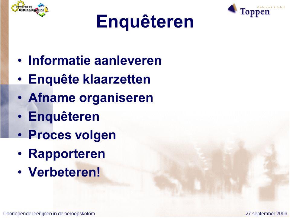 27 september 2006Doorlopende leerlijnen in de beroepskolom Enquêteren Informatie aanleveren Enquête klaarzetten Afname organiseren Enquêteren Proces volgen Rapporteren Verbeteren!