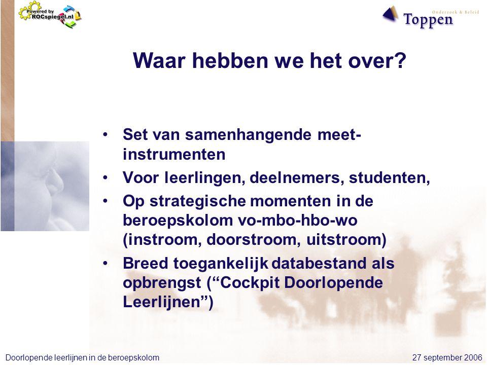 27 september 2006Doorlopende leerlijnen in de beroepskolom Waar hebben we het over.